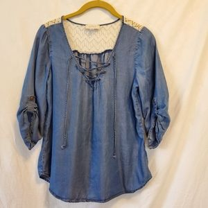 {Soulmates} Denim Style Peasant Top With lace.